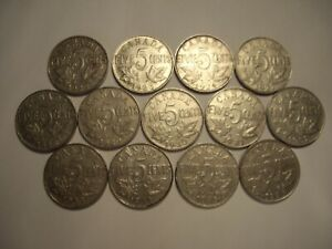 B CANADA GEORGE V 1922   1936 FIVE CENTS   LOT OF 13 COINS