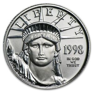 1998 1/10 OZ PLATINUM AMERICAN EAGLE   BRILLIANT UNCIRCULATED BU  W/ CAPSULE