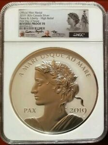 Click now to see the BUY IT NOW Price! 2019 CANADA 1 KILO SILVER PEACE & LIBERTY HIGH RELIEF REVERSE PROOF NGC PF70 FDI