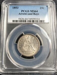 Click now to see the BUY IT NOW Price! 1853 SEATED QUARTER ARROWS AND RAYS PCGS MS64