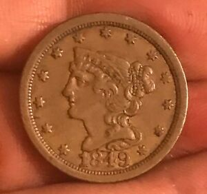 1849 BRAIDED HAIR HALF CENT  XF