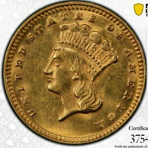 1874 G$1 INDIAN PRINCESS GOLD DOLLAR    TYPE 3   PCGS MS62. LUSTROUS SURFACES.