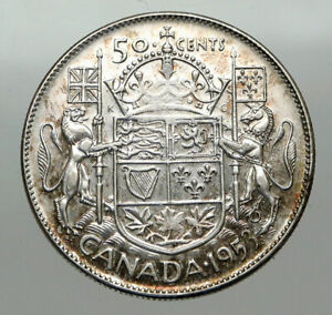 Click now to see the BUY IT NOW Price! 1953 CANADA UNDER QUEEN ELIZABETH II SILVER 50 CENTS CANADIAN COIN ARMS I84904