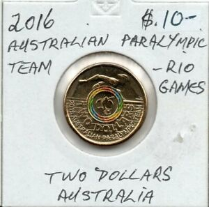 2016  AUSTRALIAN PARALYMPIC TEAM $2  COIN IN 2X2 HOLDER