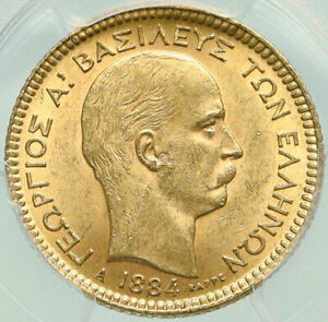 Click now to see the BUY IT NOW Price! 1884 GREECE KING GEORGE I ANTIQUE GOLD 20 DRACHMAI COIN PCGS CERTIFIED MS I84933