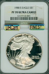 1988 S PROOF SILVER EAGLE NGC PF70 ULTRA HEAVY CAM MAC FINEST MAC SPOTLESS