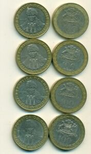 4 DIFFERENT BI METAL 100 PESO COINS FROM CHILE  2006 2008 2010 & 2012