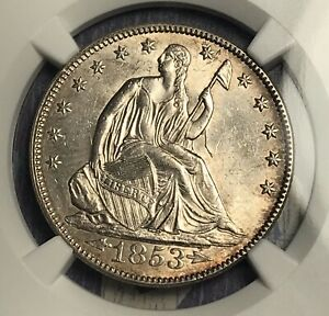 Click now to see the BUY IT NOW Price! 1853 ARROWS AND RAYS LIBERTY SEATED SILVER HALF DOLLAR NGC MS64 DIE CLASH