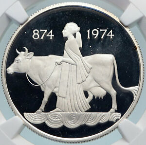 Click now to see the BUY IT NOW Price! 1974 ICELAND FOUR SPIRITS & COW WOMAN VINTAGE SILVER 500 KRONOR COIN NGC I85052