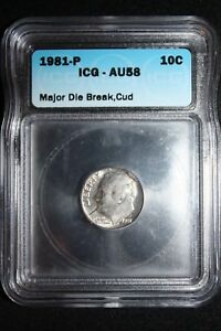 Click now to see the BUY IT NOW Price! 1981 P ROOSEVELT DIME  YUGE DIE BREAK AND CUD  ERROR COIN  HAVE A LOOK
