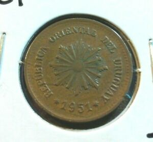 1951  URUGUAY 2 CENTESIMOS COIN   KM20A       LOT7524      COMBINED SHIPPING