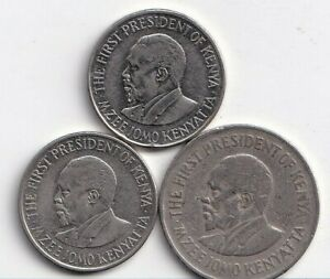 3 DIFFERENT 1 SHILLING COINS FROM KENYA  1978 2005 & 2010