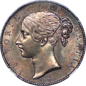 Click now to see the BUY IT NOW Price! GREAT BRITAIN 1845 VICTORIA SILVER CROWN NGC MS 62 COLORFUL IRIDESCENT TONE
