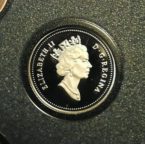 1991 CANADA PROOF SPECIMEN TEN CENTS BLUENOSE DIME MINT W FROSTED CAMEOS