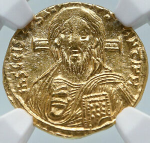 Click now to see the BUY IT NOW Price! JUSTINIAN II AUTHENTIC ANCIENT GOLD SOLIDUS FIRST JESUS CHRIST COIN NGC I85480