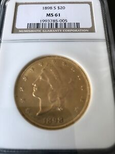 1898 S $20 LIBERTY GOLD COIN MS 61