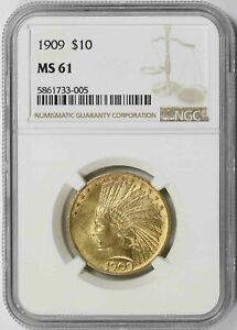 1909 INDIAN HEAD EAGLE GOLD $10 MS 61 NGC