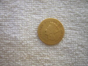 1855 S  $3 GOLD INDIAN PRINCESS THREE DOLLAR COIN