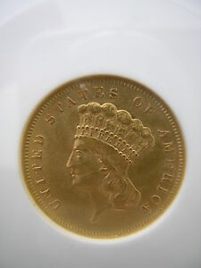 ANACS 1856 S  $3.00 PRINCESS GOLD PIECE MEDIUM  S   AU 55