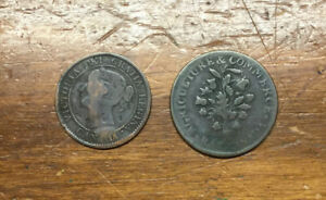 1859 CANADA LARGE CENT & 1837 AG & COMMERCE BOUQUET TOKEN MONTREAL