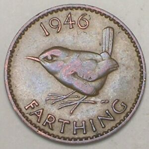 1946 UK GREAT BRITAIN BRITISH FARTHING WREN BIRD COIN XF TONE