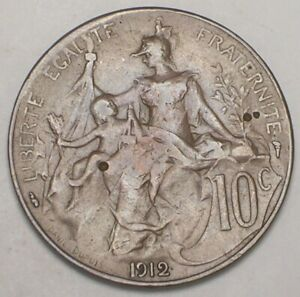 1912 FRANCE FRENCH 10 CENTIMES REPUBLIC HEAD COIN VF