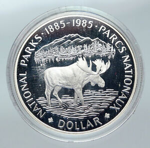 Click now to see the BUY IT NOW Price! 1985 CANADA UK QUEEN ELIZABETH II NATIONAL PARKS MOOSE PROOF SILVER COIN I85663