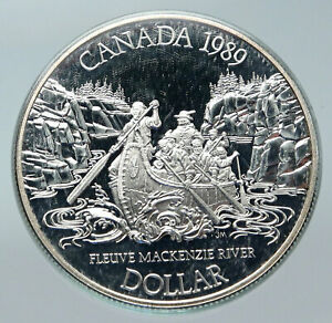 Click now to see the BUY IT NOW Price! 1989 CANADA UK QUEEN ELIZABETH II MACKENZIE RIVER CANOE PROOF SILVER COIN I85656