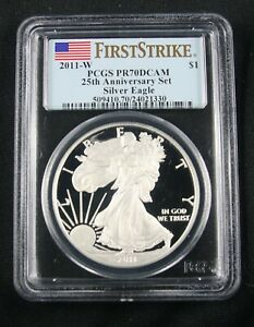 Click now to see the BUY IT NOW Price! 2011 W AMERICAN SILVER EAGLE 25TH ANNIVERSARY SET PCGS PR 70 FIRST STRIKE
