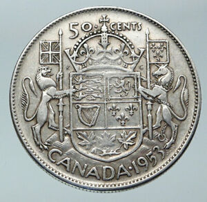 Click now to see the BUY IT NOW Price! 1953 CANADA UNDER QUEEN ELIZABETH II SILVER 50 CENTS CANADIAN COIN ARMS I85832