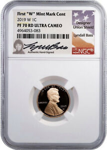 2019 W 1C PENNY NGC PF70 RD UCAM LYNDALL BASS SIGNED