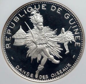 Click now to see the BUY IT NOW Price! 1969 GUINEA OISEAUX DANCERS VINTAGE PROOF SILVER 500 FR AFRICAN COIN NGC I85990