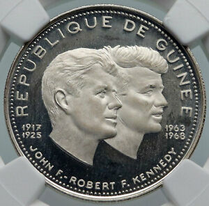 Click now to see the BUY IT NOW Price! 1969 GUINEA W JFK & RFK JOHN F. KENNEDY PROOF SILVER 200 FRANCS COIN NGC I85994