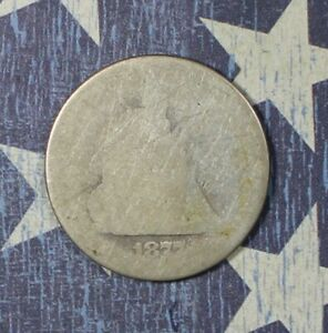 1877 SEATED LIBERTY SILVER QUARTER COLLECTOR COIN.