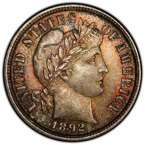 Click now to see the BUY IT NOW Price! 1892 10C PCGS MS 66 REPUNCHED DATE   COLORFUL BARBER DIME VARIETY