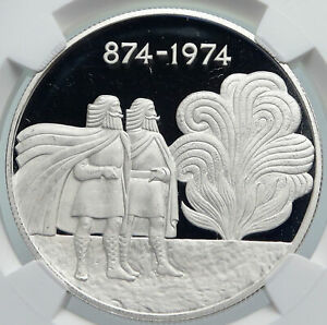 Click now to see the BUY IT NOW Price! 1974 ICELAND FOUR SPIRITS & VIKINGS OLD PROOF SILVER 1000 KRONOR COIN NGC I86012
