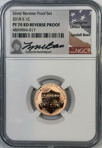2018 S LINCOLN PENNY NGC REVERSE PF70 RD LYNDALL BASS SIGNED
