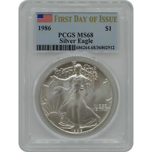 Click now to see the BUY IT NOW Price! 1986 AMERICAN SILVER EAGLE PCGS MS68 FIRST DAY OF ISSUE POP IS 1 W/CERTIFICATE