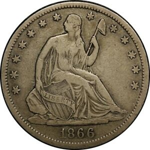 1866 S 50C SEATED LIBERTY HALF DOLLAR PCGS VF25  NO MOTTO   OLD TYPE COIN
