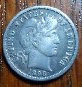 1898 O BARBER DIME.  VF/XF.  CURCULATED.  SHARP LOOKING COIN.