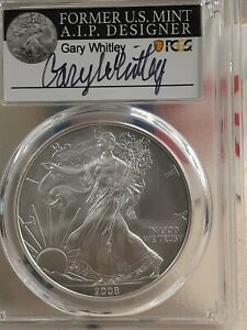 2008 W US MINT AMERICAN BURNISHED SILVER EAGLE COIN PCGS SP70 GARY WHITLEY