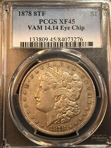 Click now to see the BUY IT NOW Price! 1878 8TF VAM 14.14 DIE BREAK AT 8 PCGS XF45 MORGAN DOLLAR REGISTRY READY
