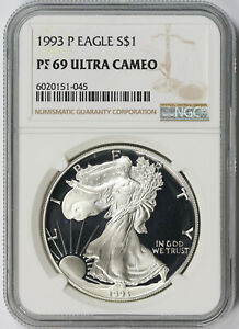 1993 P AMERICAN SILVER EAGLE $1 PROOF PF 69 ULTRA CAMEO NGC