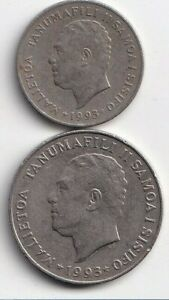 2 DIFFERENT COINS FROM SAMOA   10 & 20 SENE  BOTH DATING 1993
