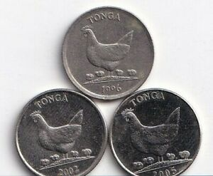 3 DIFFERENT 5 SENTI COINS W/ HEN & CHICK FROM TONGA  1996 2002 & 2005