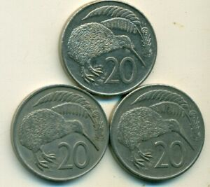 3 DIFFERENT 20 CENT COINS W/ KIWI BIRD FROM NEW ZEALAND  1967 1980 & 1982