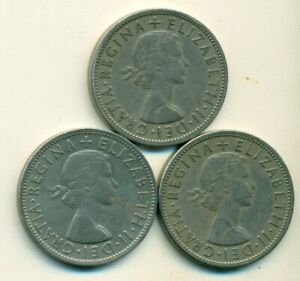 3 OLDER HALF CROWN COINS FROM GREAT BRITAIN  1956 1957 & 1958