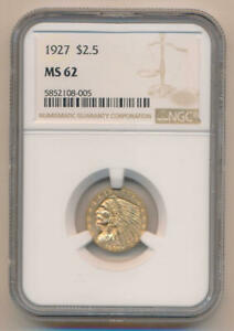 1927 $2.5 GOLD INDIAN. NGC MS62