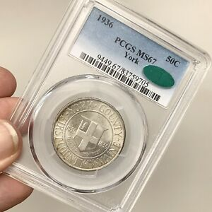 1936 YORK MS67 PCGS CAC $.50 COMMEMORATIVE SILVER HALF DOLLAR  COIN 1STMAINE