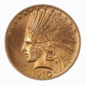 1910 D INDIAN $10 PCGS CERTIFIED MS62 US MINT GOLD COIN